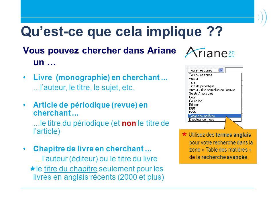 Quest-ce que cela implique ?? Vous pouvez chercher dans Ariane un … Livre (monographie) en cherchant......lauteur, le titre, le sujet, etc. Article de