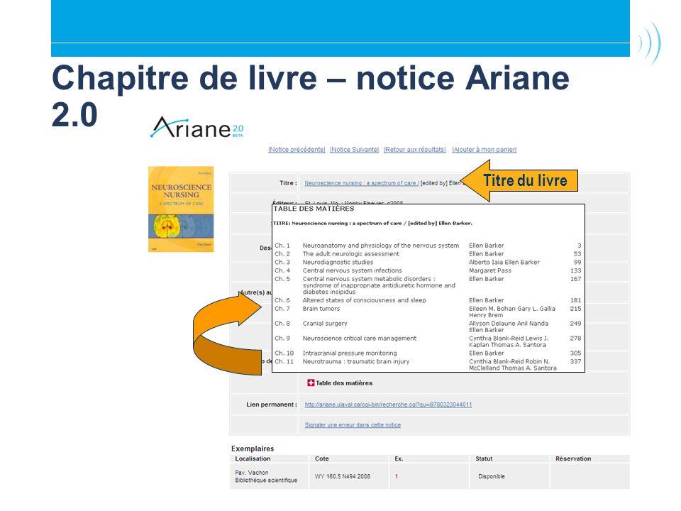 Chapitre de livre – notice Ariane 2.0 Titre du livre