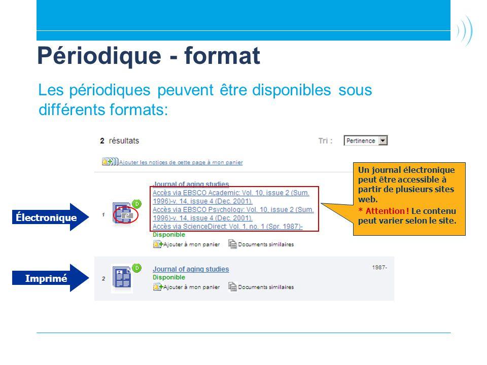 Périodique - format Les périodiques peuvent être disponibles sous différents formats: Électronique Imprimé Un journal électronique peut être accessible à partir de plusieurs sites web.
