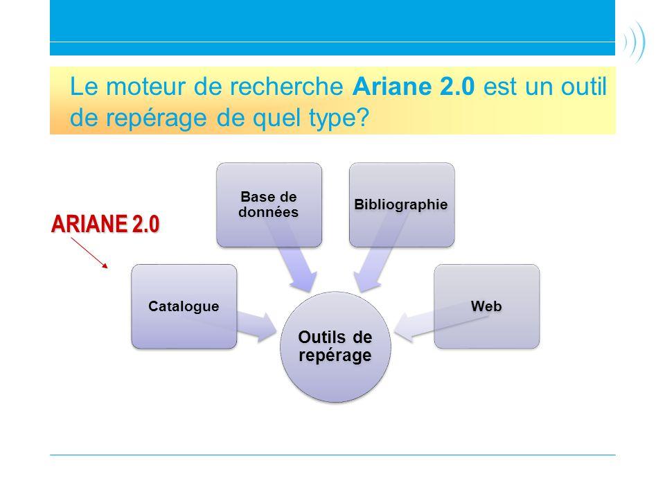 Découvrir Ariane 2.0 Outils de repérage Catalogue Base de données BibliographieWeb Le moteur de recherche Ariane 2.0 est un outil de repérage de quel type.