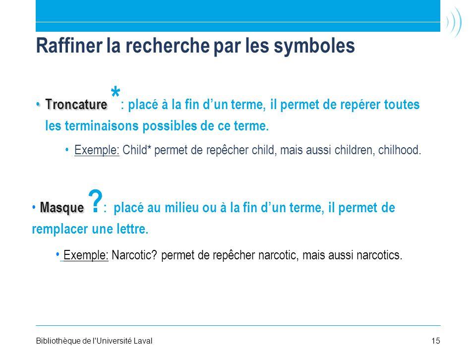 Raffiner la recherche par les symboles Troncature Troncature * : placé à la fin dun terme, il permet de repérer toutes les terminaisons possibles de ce terme.
