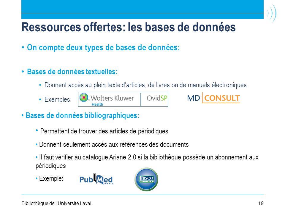 Ressources offertes: les bases de données On compte deux types de bases de données: Bases de données textuelles: Donnent accès au plein texte darticles, de livres ou de manuels électroniques.