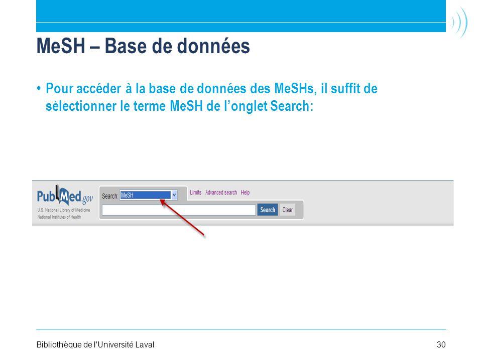 MeSH – Base de données Pour accéder à la base de données des MeSHs, il suffit de sélectionner le terme MeSH de longlet Search: Bibliothèque de l Université Laval30