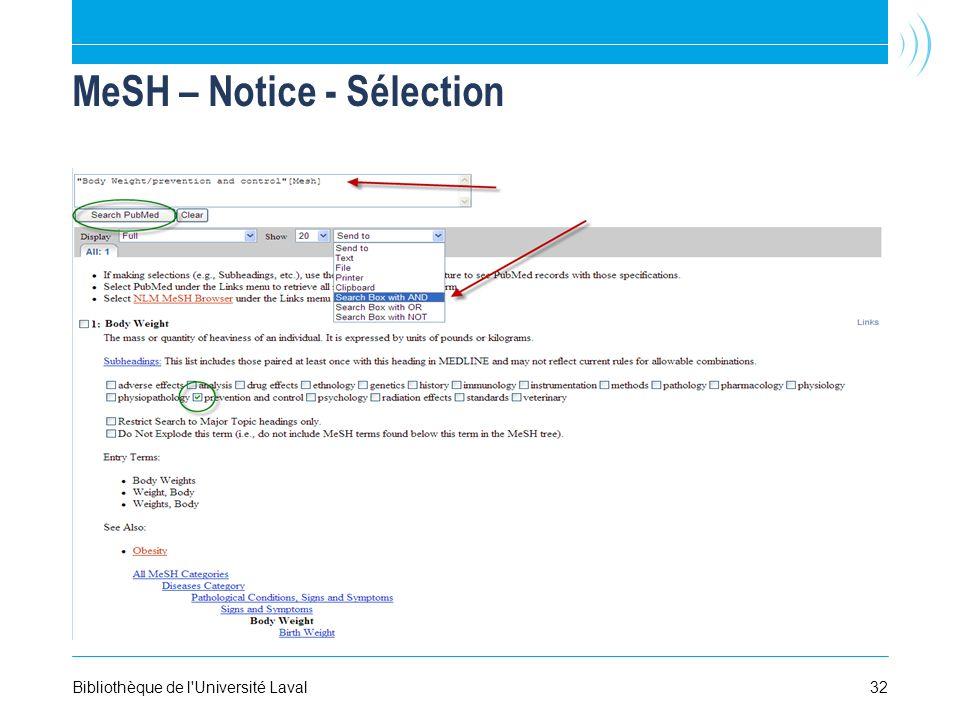 MeSH – Notice - Sélection Bibliothèque de l Université Laval32