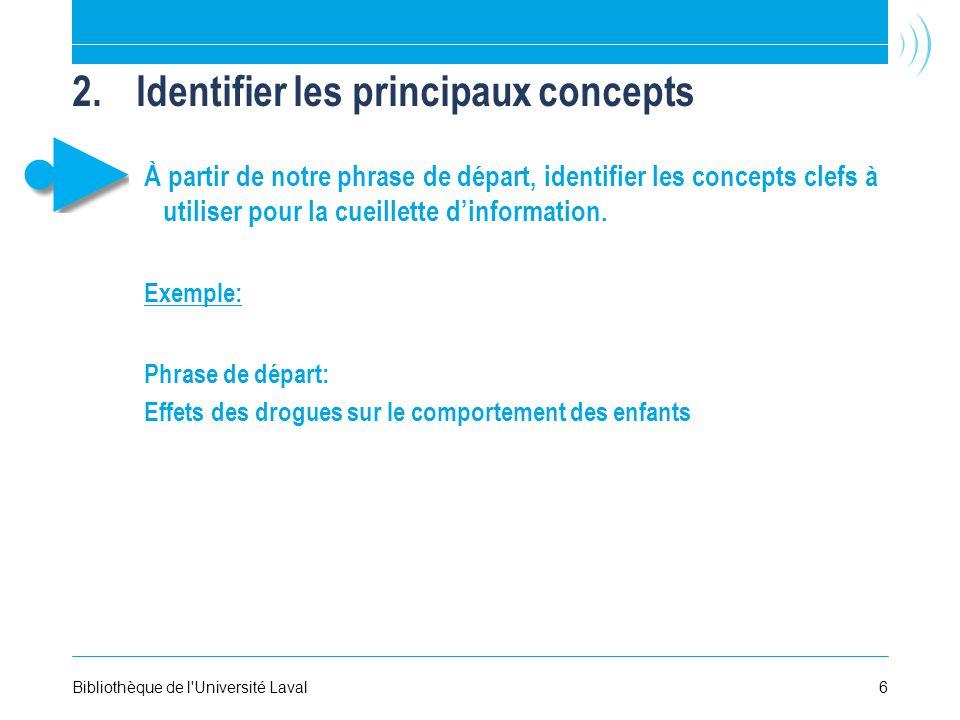 2.Identifier les principaux concepts À partir de notre phrase de départ, identifier les concepts clefs à utiliser pour la cueillette dinformation.