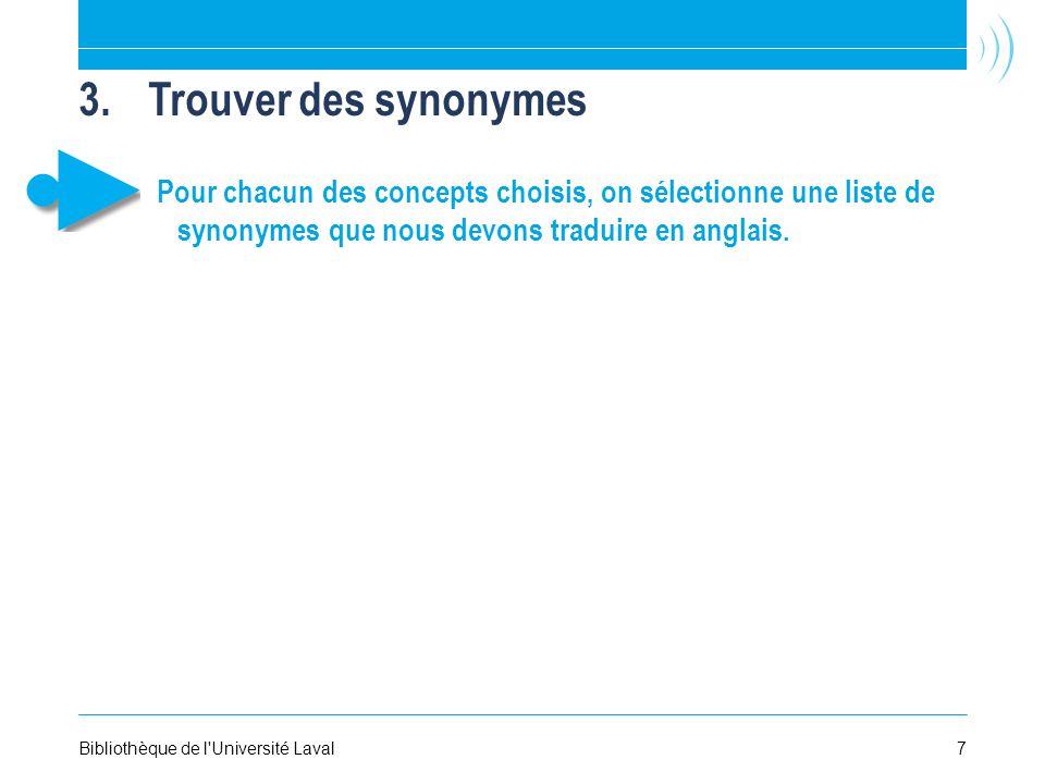 3.Trouver des synonymes Pour chacun des concepts choisis, on sélectionne une liste de synonymes que nous devons traduire en anglais.