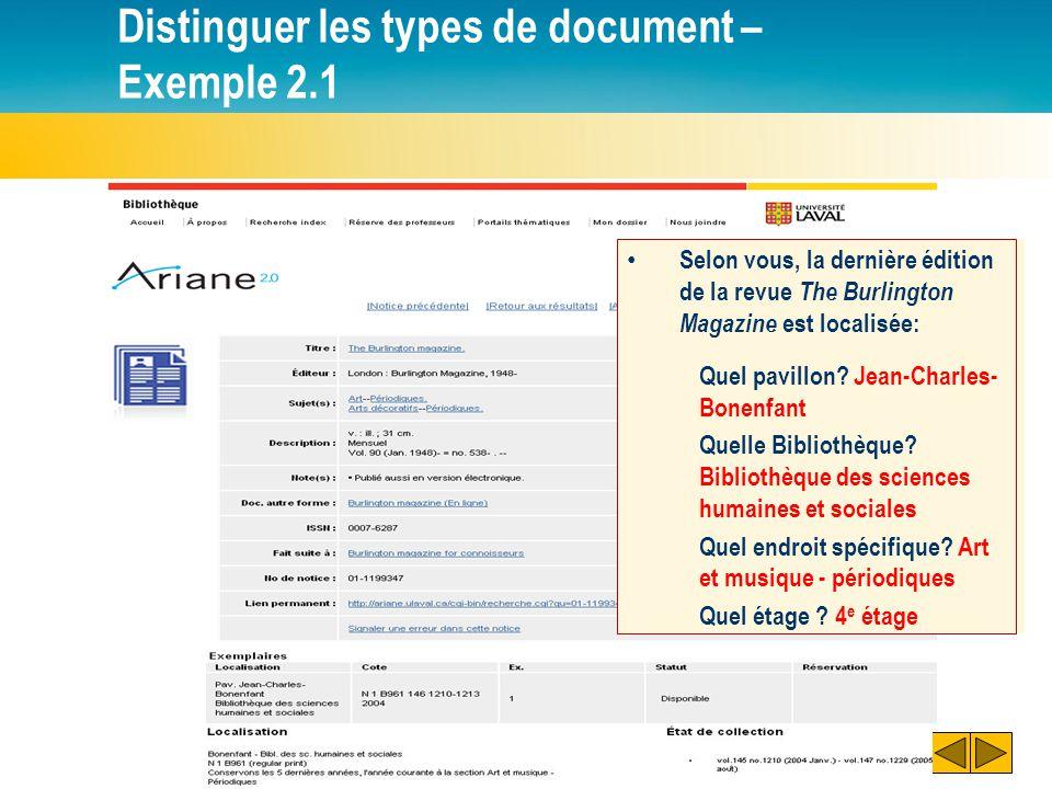 Distinguer les types de document – Exemple 2.1 Selon vous, la dernière édition de la revue The Burlington Magazine est localisée: Quel pavillon? Quell