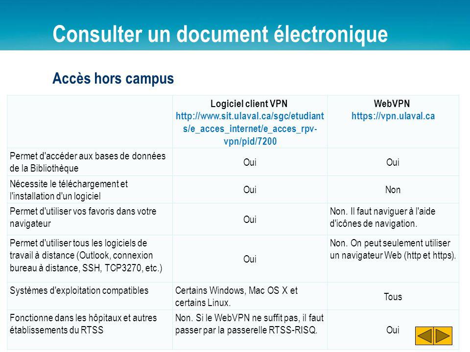 Consulter un document électronique Accès hors campus Logiciel client VPN http://www.sit.ulaval.ca/sgc/etudiant s/e_acces_internet/e_acces_rpv- vpn/pid