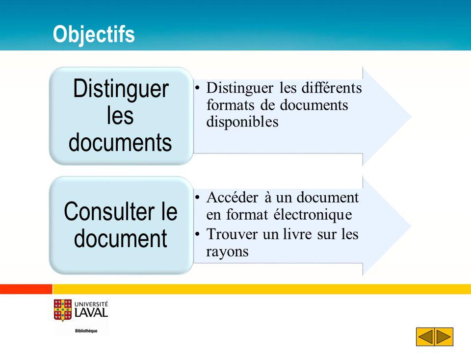 Objectifs Distinguer les différents formats de documents disponibles Distinguer les documents Accéder à un document en format électronique Trouver un