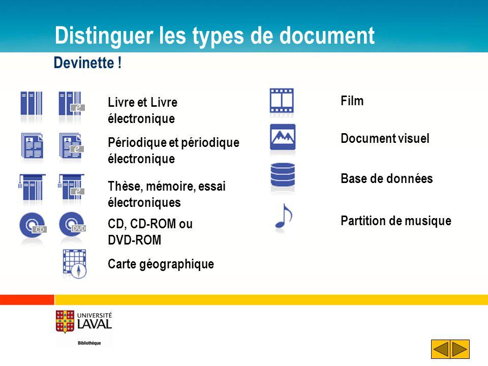 Distinguer les types de document Devinette ! Carte géographique Livre et Livre électronique Périodique et périodique électronique Thèse, mémoire, essa