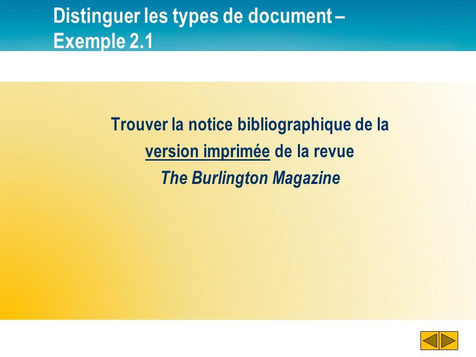 Consulter un document électronique – Exemple 2.2 5 Remarquer : Le format des documents 6 Cliquer sur laccès électronique au document pour le consulter en ligne.