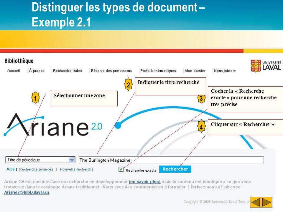 Distinguer les types de document – Exemple 2.1 1 Sélectionner une zone 2 3 Indiquer le titre recherché Cocher la « Recherche exacte » pour une recherche très précise Cliquer sur « Rechercher » 4