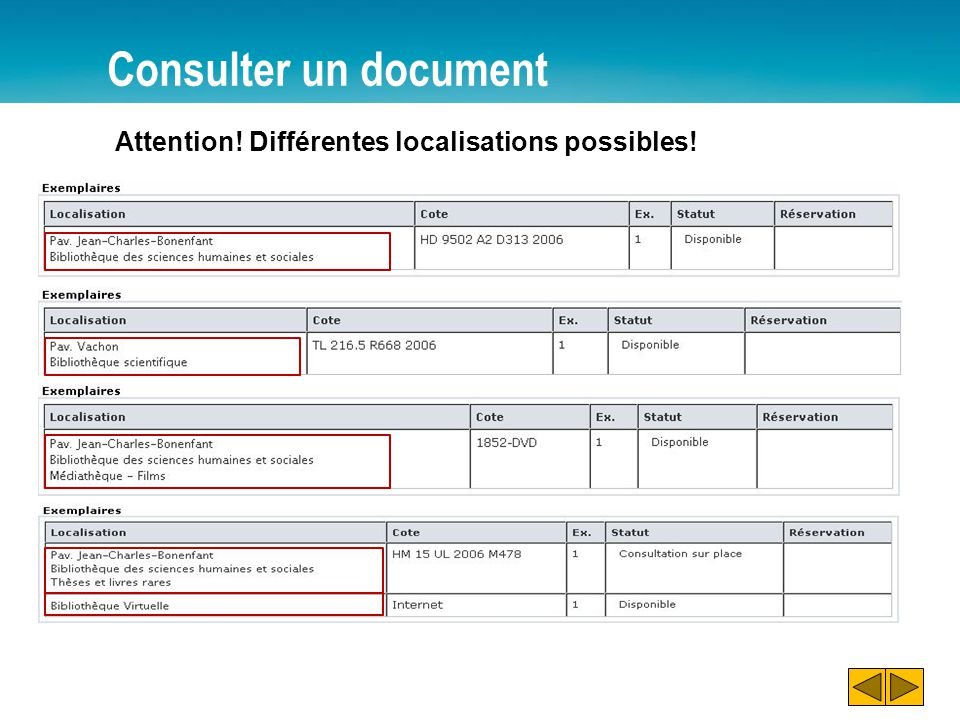Consulter un document Pavillon Jean-Charles-Bonenfant (BNF) Bibliothèque des sciences humaines et sociales Pavillon Alexandre Vachon (VCH) Bibliothèque scientifique
