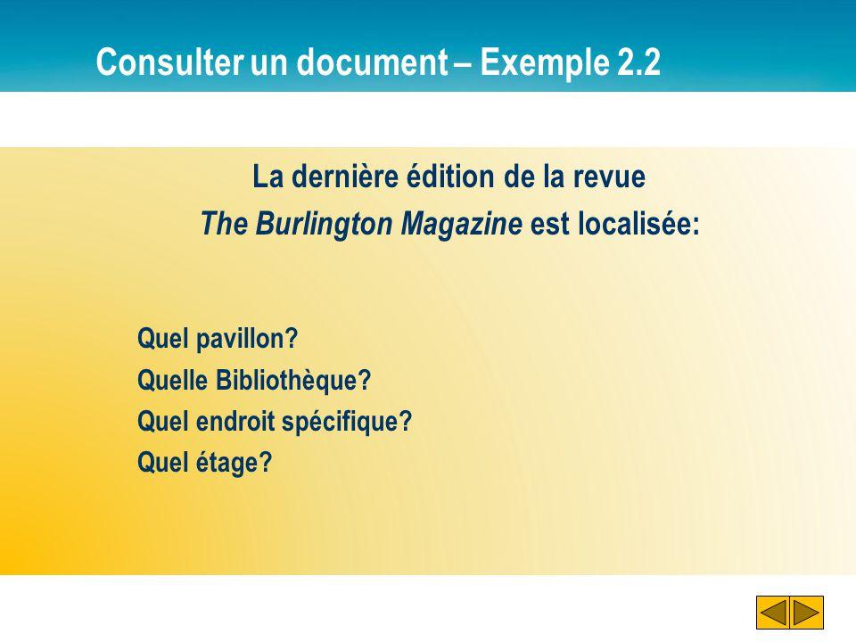 Consulter un document – Exemple 2.2 La dernière édition de la revue The Burlington Magazine est localisée: Quel pavillon? Quelle Bibliothèque? Quel en