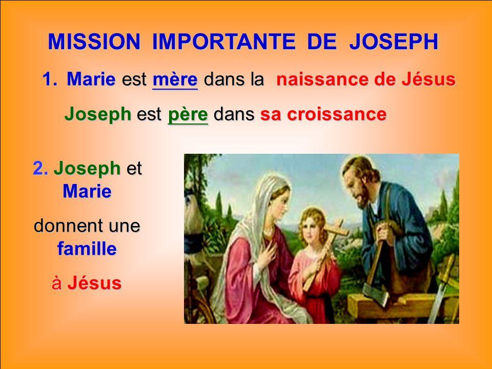.. JOSEPH : PÈRE NOURRICIER La paternité de Joseph est spéciale: Jésus, fils de Marie et fils du Père éternel, a été confié à Joseph. Il en a la garde