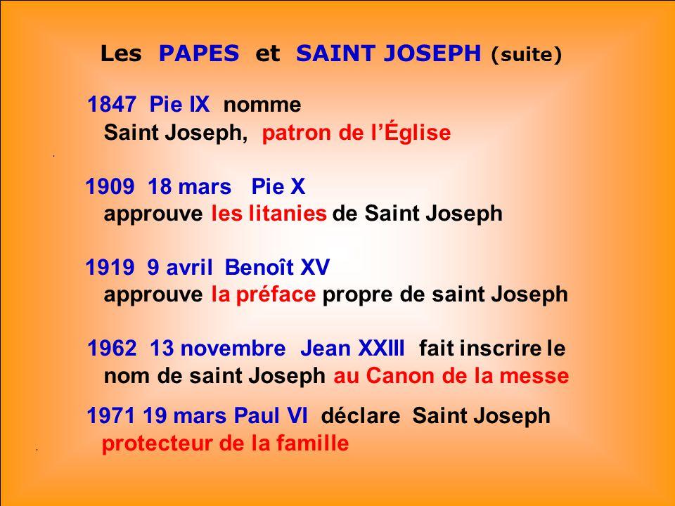 .. Les PAPES et SAINT JOSEPH - 1480 Sixte IV. fixe la fête de saint Joseph: 19 mars.. Il choisit mercredi: jour de saint Joseph. et mars: le mois de s