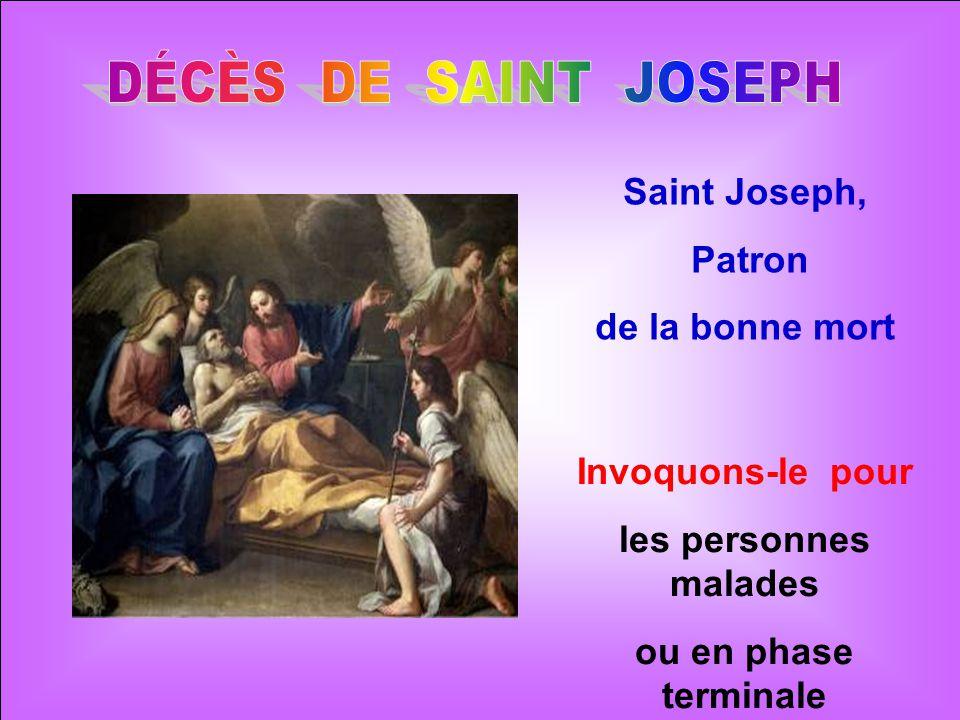 .. Joseph est sans doute décédé entre les bras de Jésus et de Marie. Quelle belle mort dans la paix, la sérénité et la joie ! Jésus devait avoir entre