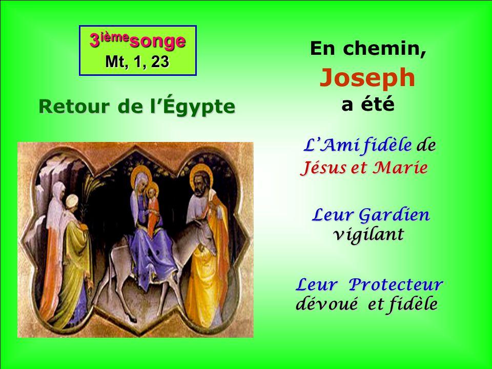 .. 2 ième songe Mt, 2,14 2 ième songe Mt, 2,14 Lève-toi, prends l Enfant et sa Mère et fuis en Égypte QUELLE UNITÉ et QUELLE PAIX dans la SAINTE FAMIL