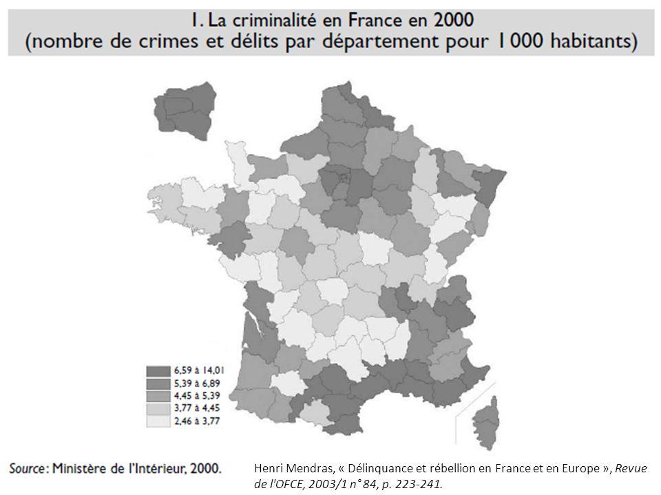 Henri Mendras, « Délinquance et rébellion en France et en Europe », Revue de l'OFCE, 2003/1 n° 84, p. 223-241.