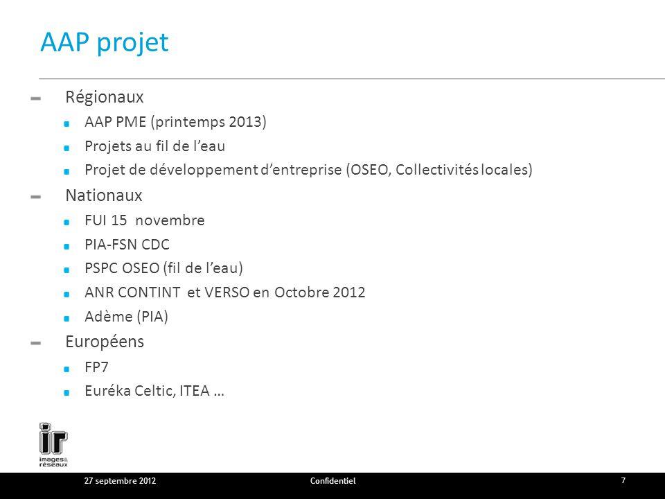 AAP projet Régionaux AAP PME (printemps 2013) Projets au fil de leau Projet de développement dentreprise (OSEO, Collectivités locales) Nationaux FUI 15 novembre PIA-FSN CDC PSPC OSEO (fil de leau) ANR CONTINT et VERSO en Octobre 2012 Adème (PIA) Européens FP7 Euréka Celtic, ITEA … 27 septembre 2012Confidentiel 7