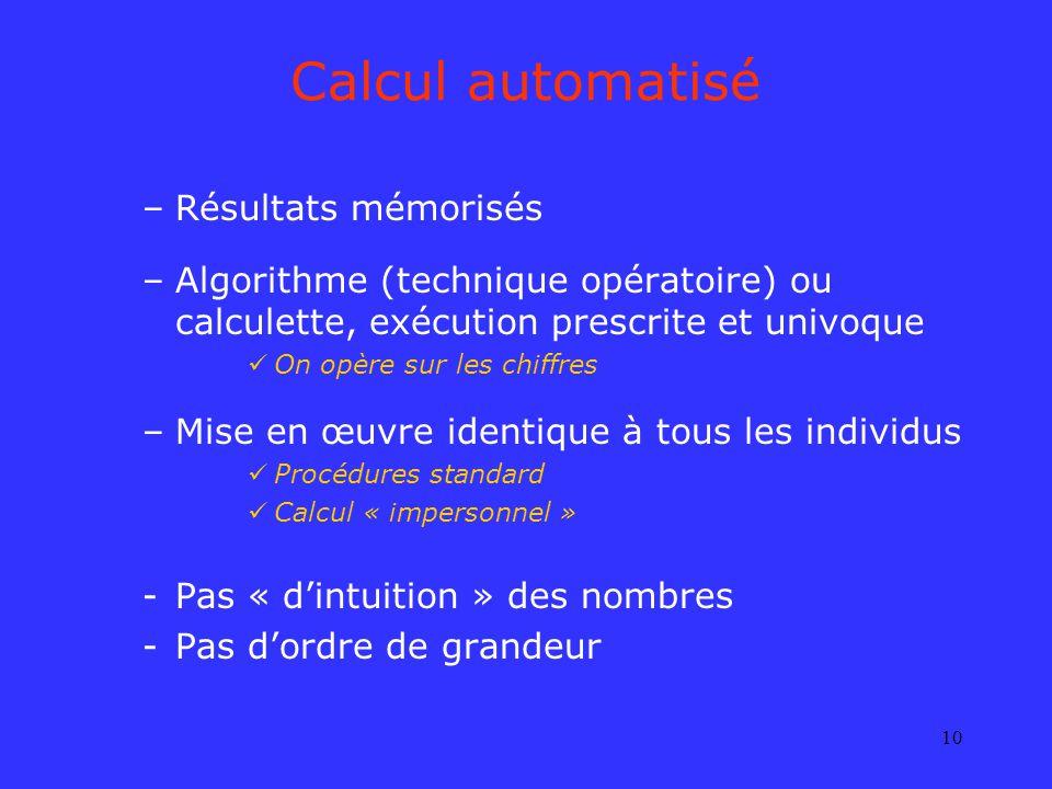10 Calcul automatisé –Résultats mémorisés –Algorithme (technique opératoire) ou calculette, exécution prescrite et univoque On opère sur les chiffres