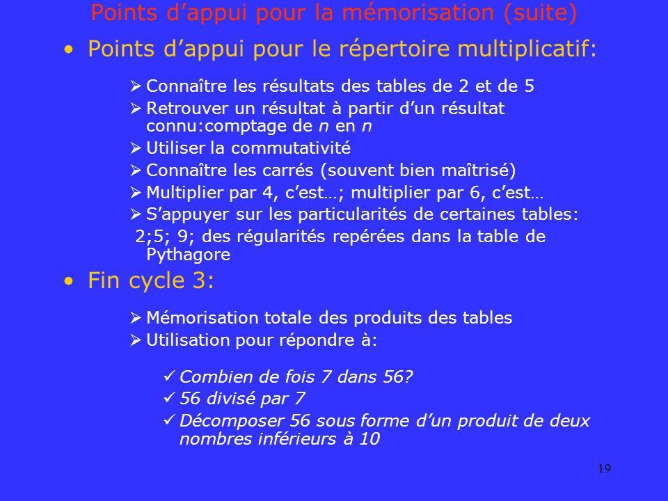 19 Points dappui pour la mémorisation (suite) Points dappui pour le répertoire multiplicatif: Connaître les résultats des tables de 2 et de 5 Retrouve