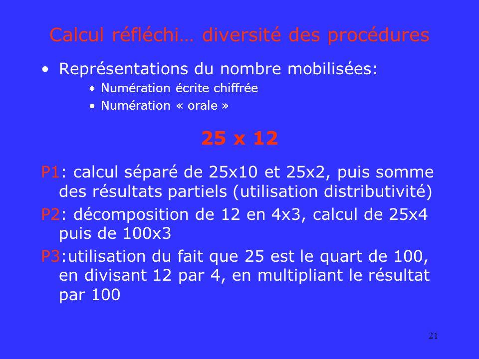 21 Calcul réfléchi… diversité des procédures Représentations du nombre mobilisées: Numération écrite chiffrée Numération « orale » 25 x 12 P1: calcul