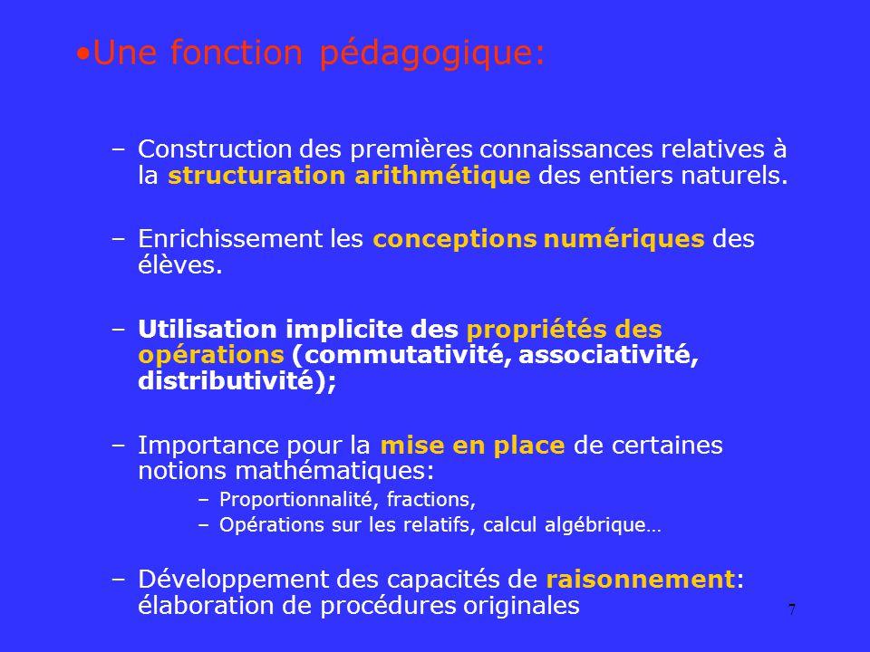 7 Une fonction pédagogique: –Construction des premières connaissances relatives à la structuration arithmétique des entiers naturels. –Enrichissement