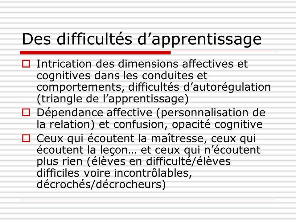 Des difficultés dapprentissage Intrication des dimensions affectives et cognitives dans les conduites et comportements, difficultés dautorégulation (t
