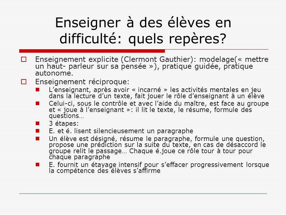 Enseigner à des élèves en difficulté: quels repères? Enseignement explicite (Clermont Gauthier): modelage(« mettre un haut- parleur sur sa pensée »),