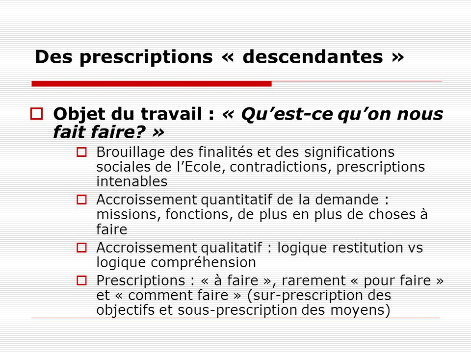 Des prescriptions « descendantes » Objet du travail : « Quest-ce quon nous fait faire? » Brouillage des finalités et des significations sociales de lE