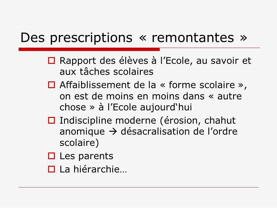 Des prescriptions « remontantes » Rapport des élèves à lEcole, au savoir et aux tâches scolaires Affaiblissement de la « forme scolaire », on est de m