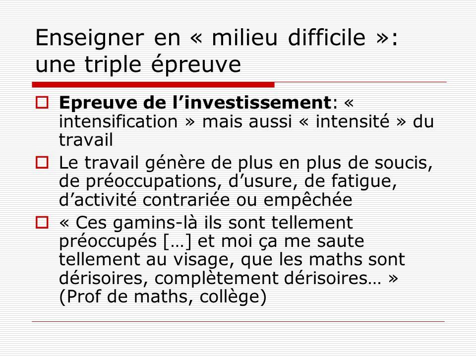 Enseigner en « milieu difficile »: une triple épreuve Epreuve de linvestissement: « intensification » mais aussi « intensité » du travail Le travail g