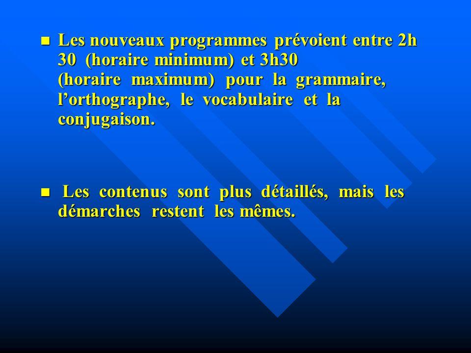 Les programmes : Les programmes : Lobservation réfléchie de la langue, cest la démarche.