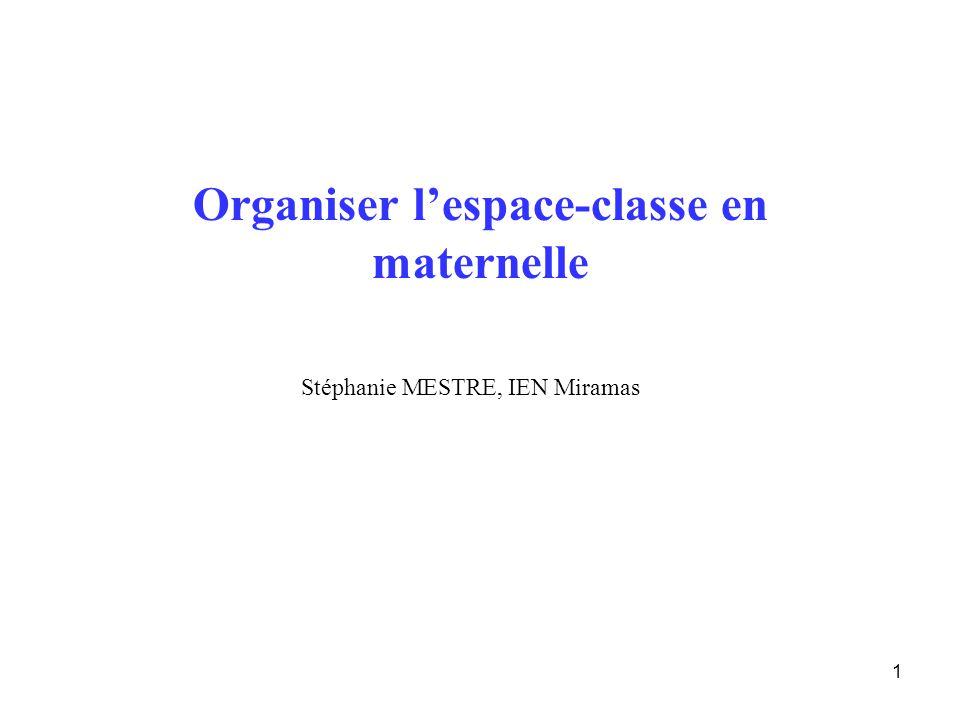 1 Organiser lespace-classe en maternelle Stéphanie MESTRE, IEN Miramas