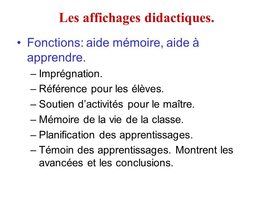 Les affichages didactiques.Fonctions: aide mémoire, aide à apprendre.