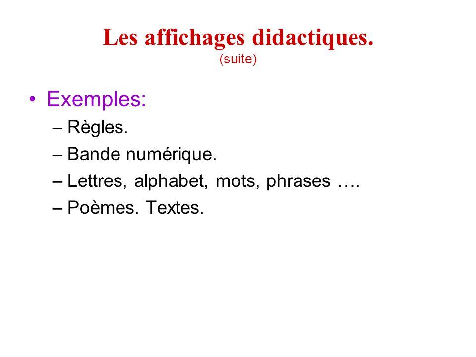 Les affichages didactiques.(suite) Exemples: –Règles.