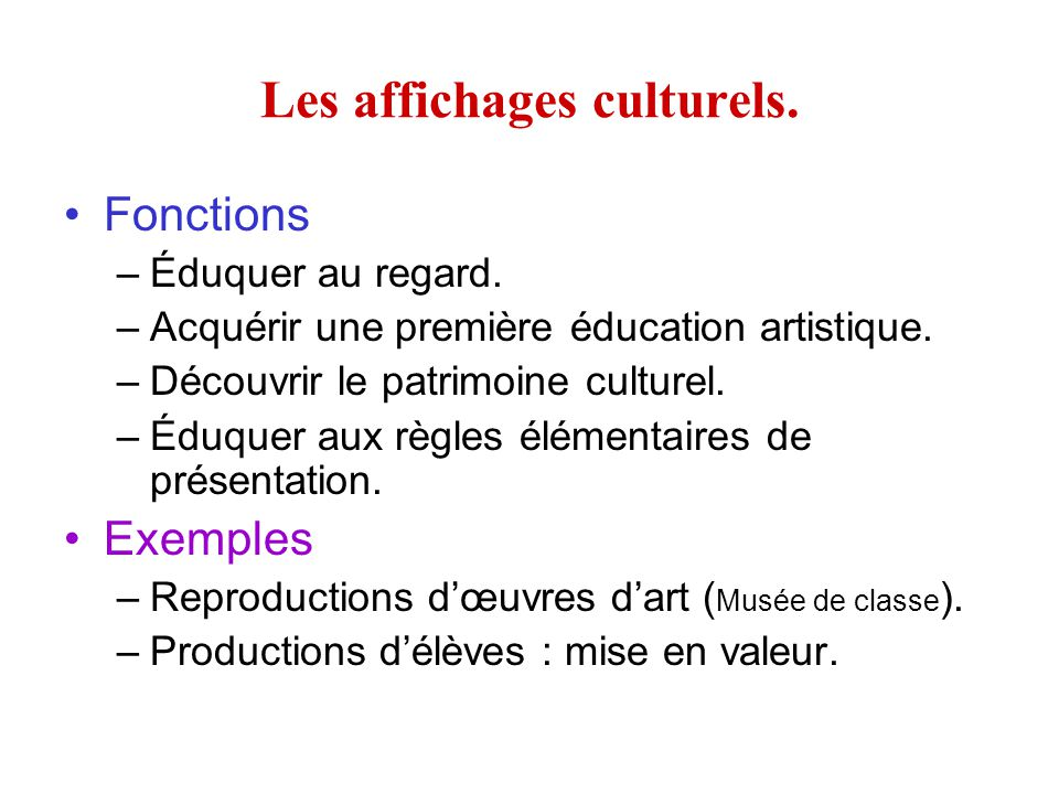 Les affichages culturels.Fonctions –Éduquer au regard.