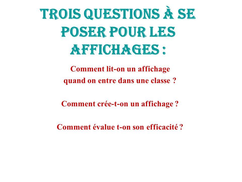 Trois questions à se poser pour les affichages : Comment lit-on un affichage quand on entre dans une classe .