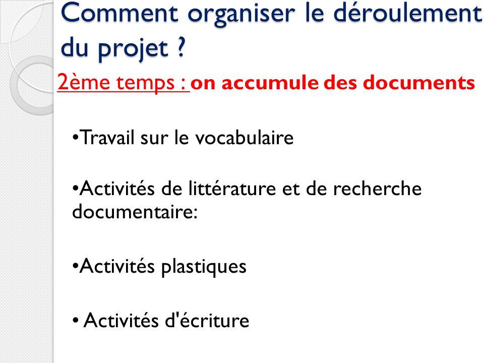 Comment organiser le déroulement du projet ? 2ème temps : on accumule des documents Travail sur le vocabulaire Activités de littérature et de recherch