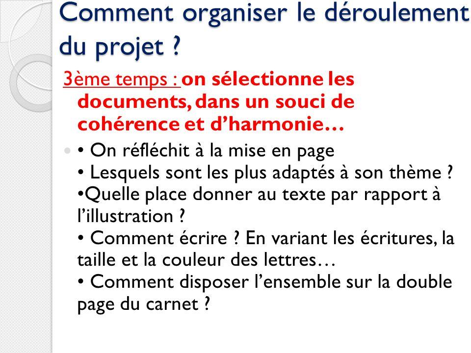 Comment organiser le déroulement du projet ? 3ème temps : on sélectionne les documents, dans un souci de cohérence et dharmonie… On réfléchit à la mis