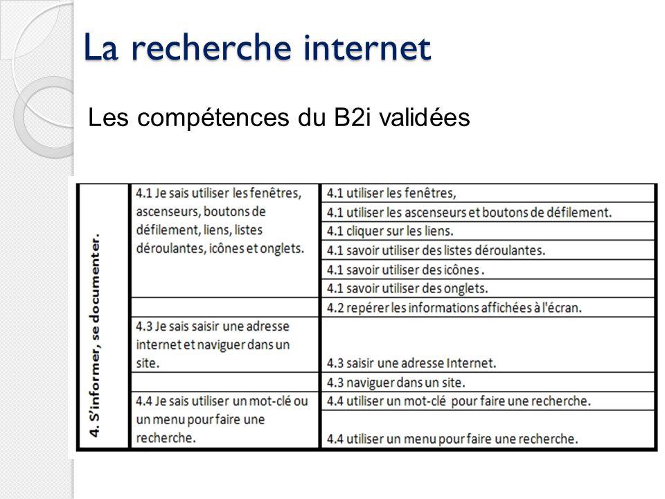 La recherche internet Les compétences du B2i validées