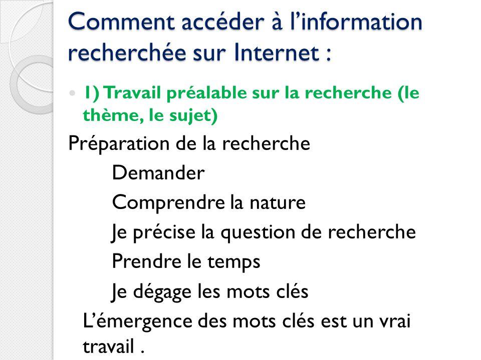 Comment accéder à linformation recherchée sur Internet : 1) Travail préalable sur la recherche (le thème, le sujet) Préparation de la recherche Demand