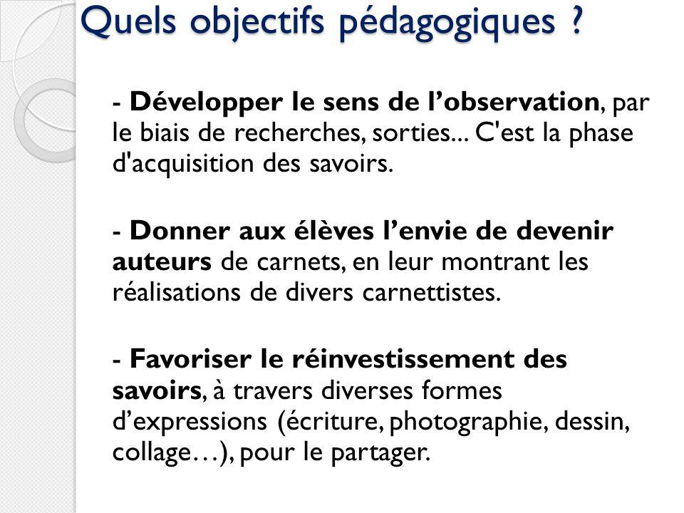 Quels objectifs pédagogiques ? - Développer le sens de lobservation, par le biais de recherches, sorties... C'est la phase d'acquisition des savoirs.