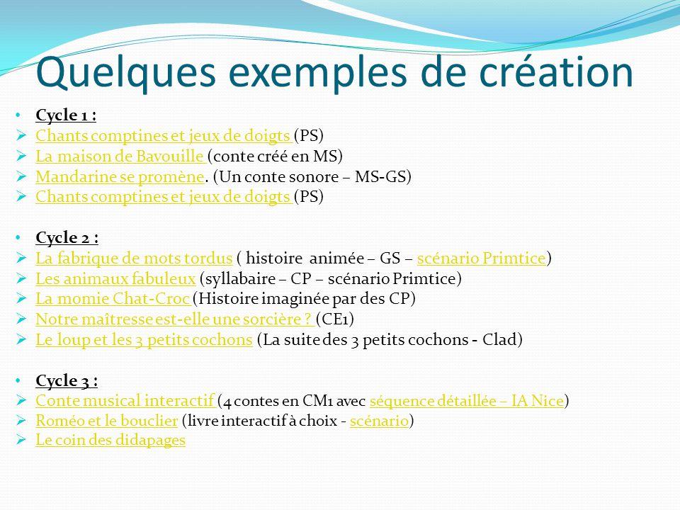 Quelques exemples de création Cycle 1 : Chants comptines et jeux de doigts (PS) Chants comptines et jeux de doigts La maison de Bavouille (conte créé en MS) La maison de Bavouille Mandarine se promène.