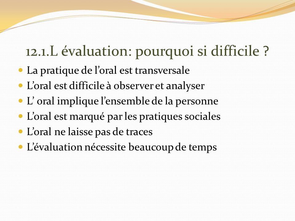 12.1.L évaluation: pourquoi si difficile .