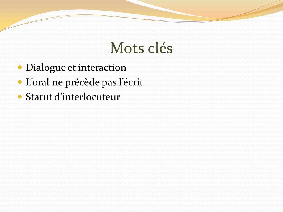 Mots clés Dialogue et interaction Loral ne précède pas lécrit Statut dinterlocuteur