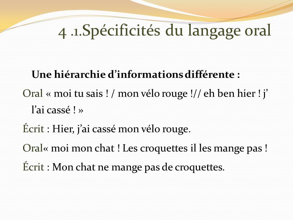 4.1. Spécificités du langage oral Une hiérarchie dinformations différente : Oral « moi tu sais .