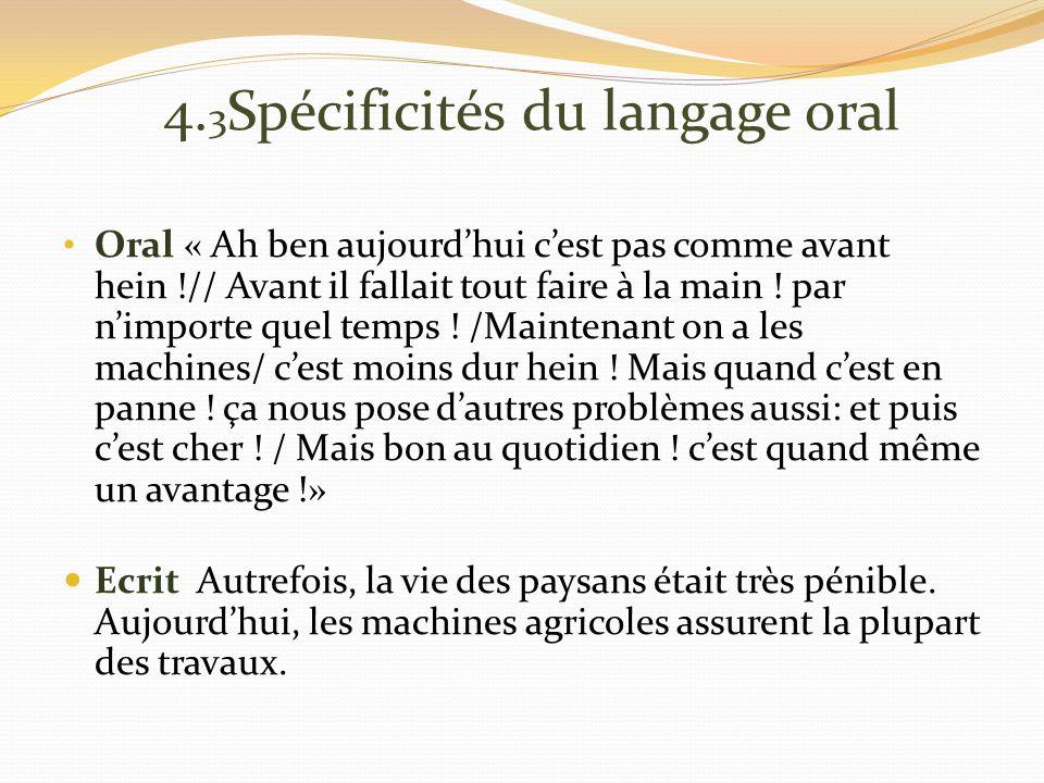 4. 3 Spécificités du langage oral Oral « Ah ben aujourdhui cest pas comme avant hein !// Avant il fallait tout faire à la main ! par nimporte quel tem