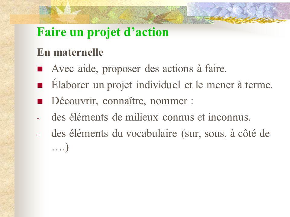 Faire un projet daction En maternelle Avec aide, proposer des actions à faire. Élaborer un projet individuel et le mener à terme. Découvrir, connaître